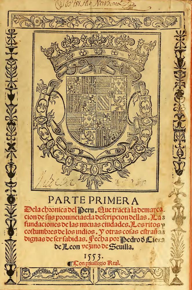 John Carter Brown Library - Parte Primera dela Chronica del Peru