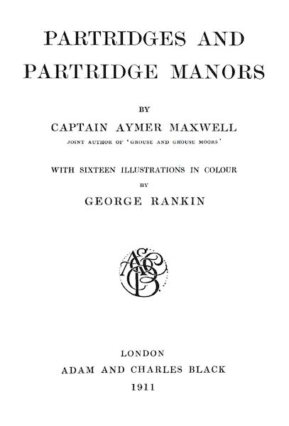 Partridges and Partridge Manors - Title Page (1911)