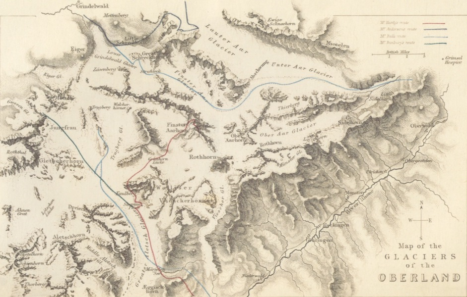 Map of the Glaciers of the Oberland