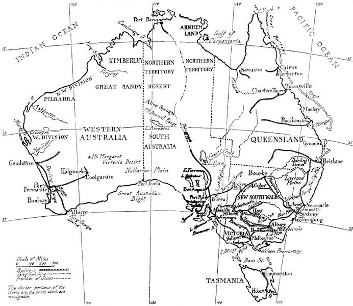 Peeps at Many Lands: Australia - Sketch Map of Australia (1911)