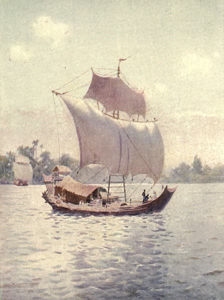 Peeps at Many Lands: Burma - A Native Boat Sailing Upstream with the Wind (1908)