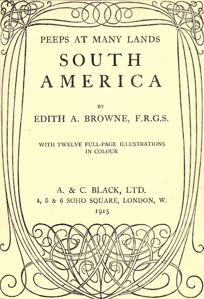 Peeps at Many Lands: South America - Title Page (1915)