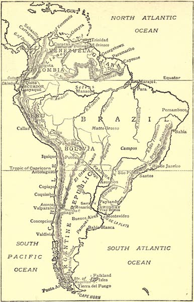 Peeps at Many Lands: South America - Sketch Map of South America (1915)