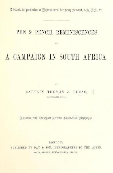 Pen and Pencil Reminiscences of a Campaign in South Africa - Title Page (1861)