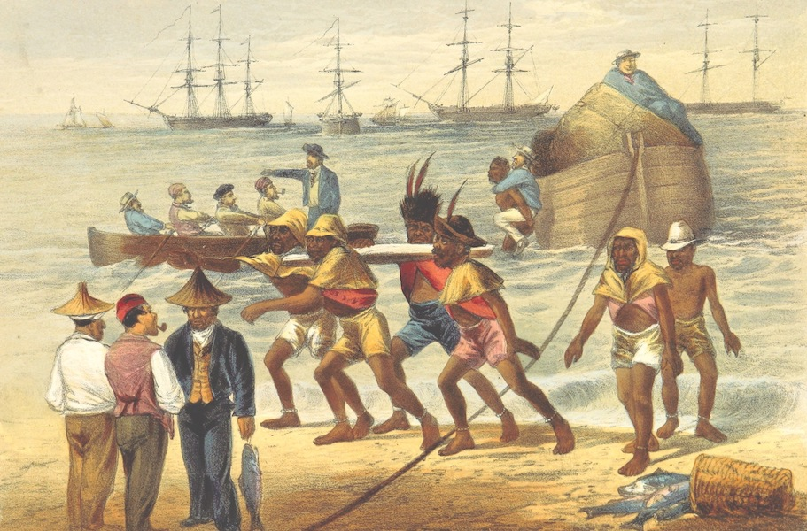 Pen and Pencil Reminiscences of a Campaign in South Africa - Fingoes Working in the Surf, at Algoa Bay (1861)