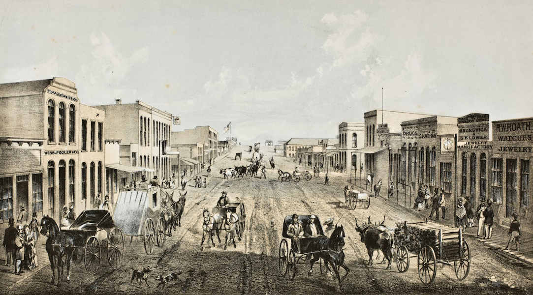 Pencil Sketches of Colorado - Laramie Street, Colorado (1866)