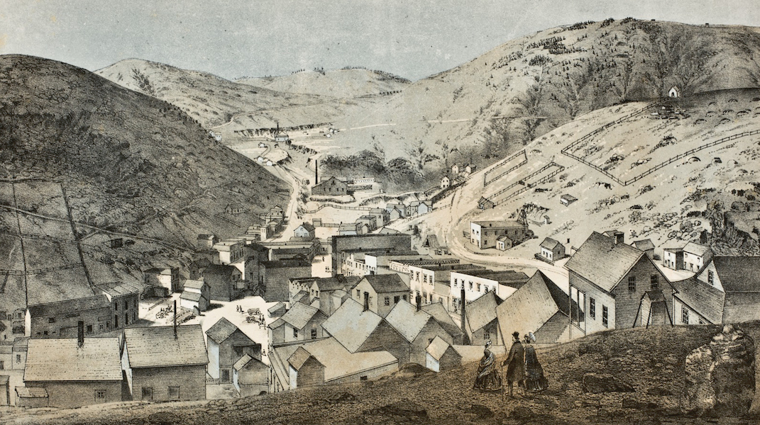Pencil Sketches of Colorado - Central City; Looking Up Spring Gulch (1866)