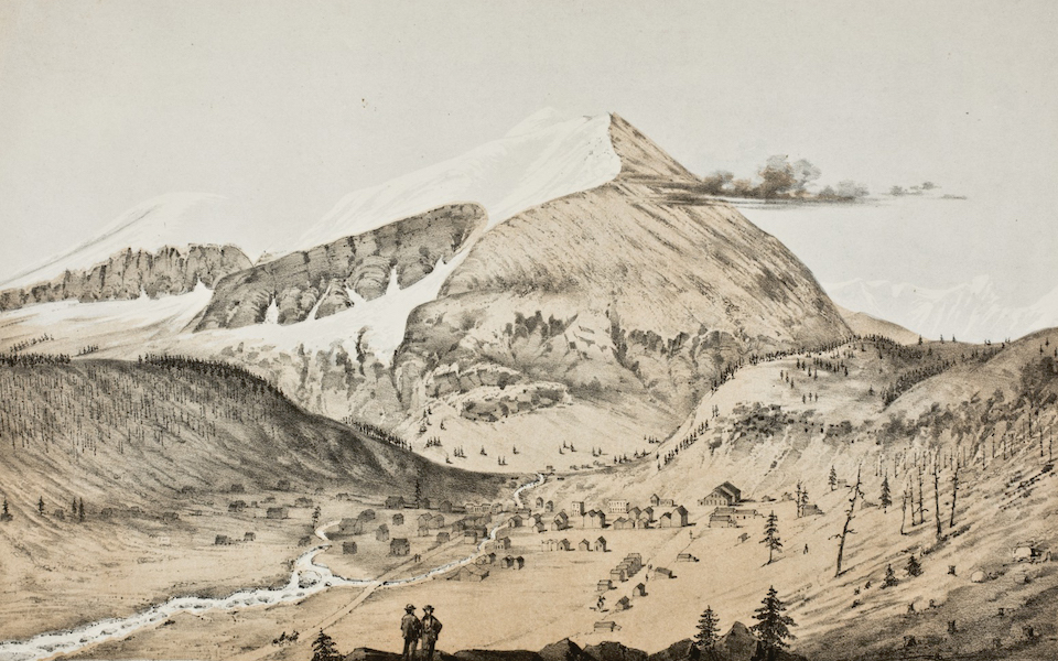 Pencil Sketches of Colorado - Mount Lincoln. The town of Montgomery is seen at its base (1866)