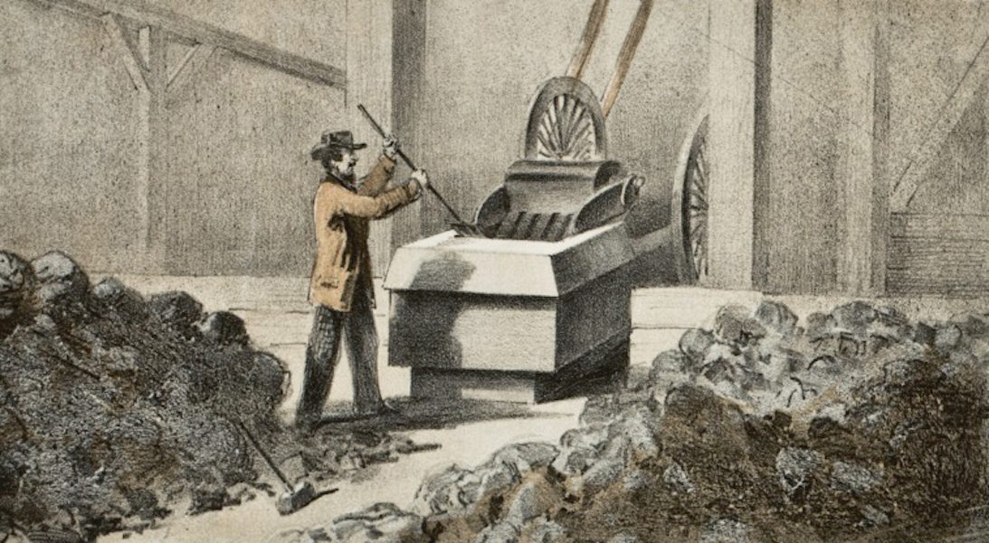 Pencil Sketches of Colorado - The Ore Breaking Room.-Blake's Ore Breaker (1866)