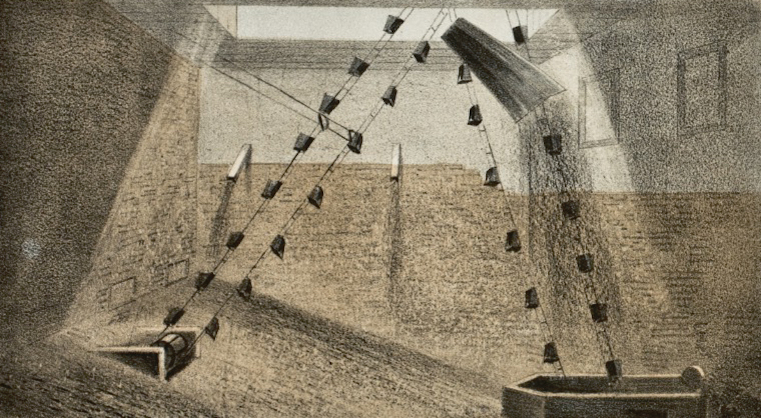 Pencil Sketches of Colorado - The Ore Pit, or Drying Room (1866)