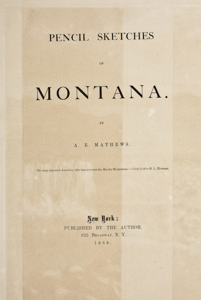Pencil Sketches of Montana - Title Page (1868)
