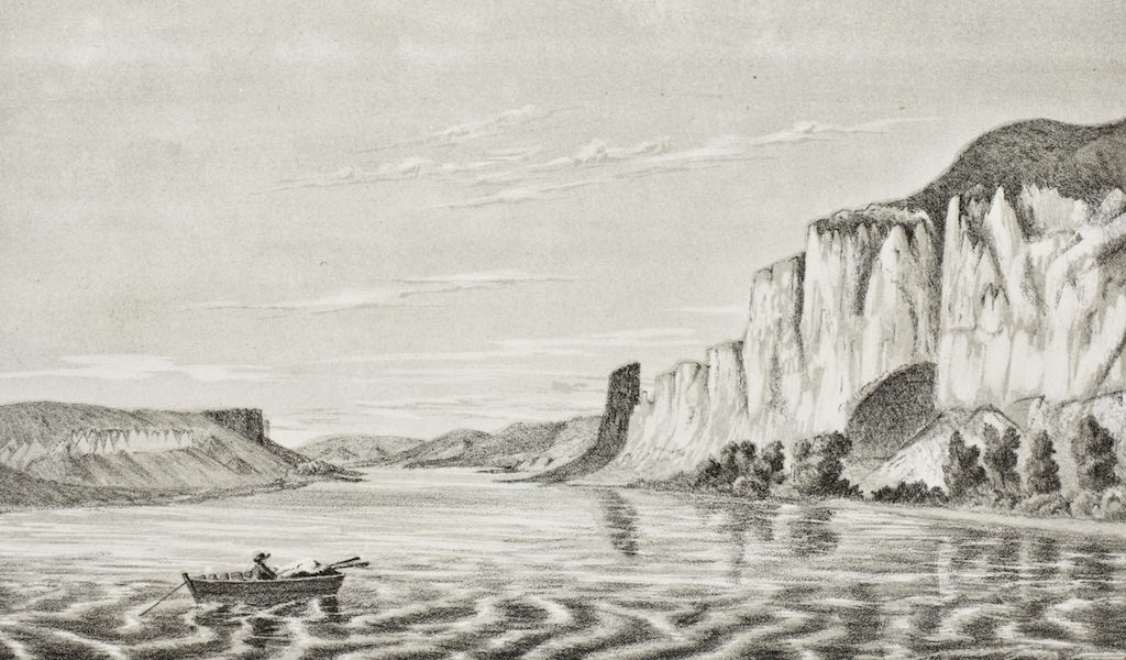 Pencil Sketches of Montana - The Palisades (1868)