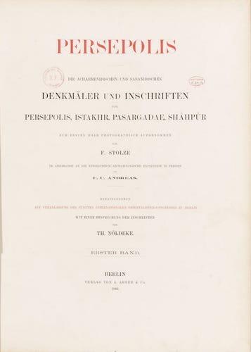 BNF Gallica - Persepolis : Die Achaemenidischen und Sasanidischen Vol. 1