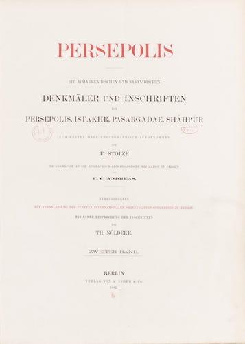 BNF Gallica - Persepolis : Die Achaemenidischen und Sasanidischen Vol. 2