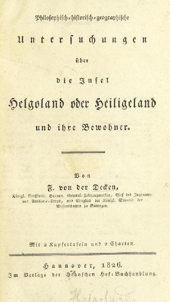 Philosophisch-historisch-geographische Untersuchungen uber die Insel Helgoland - Title Page (1826)