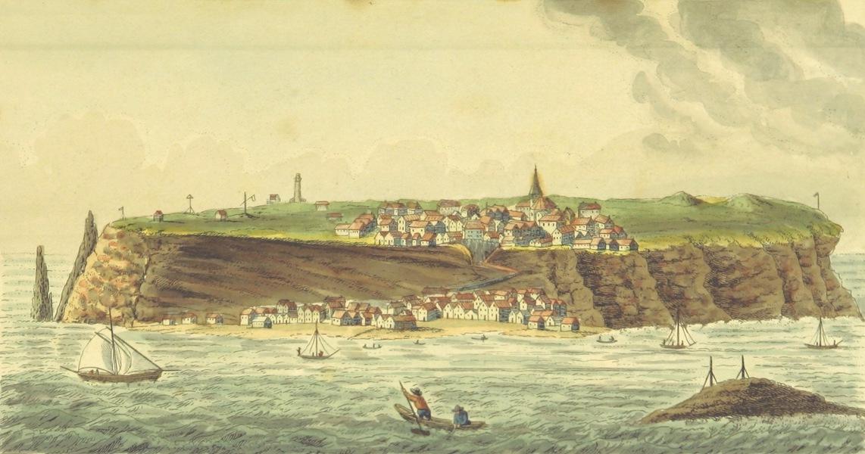 Philosophisch-historisch-geographische Untersuchungen uber die Insel Helgoland - Ansicht von Helgoland, von der Sandinsel (1826)
