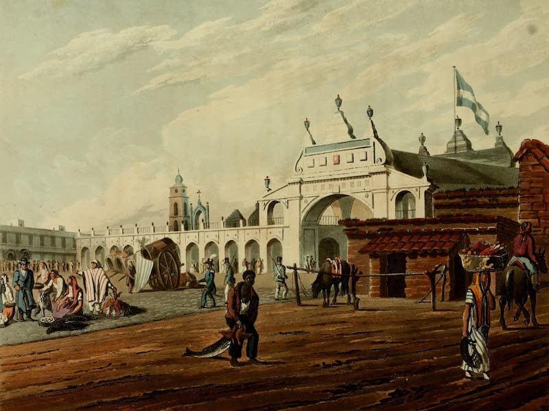 Picturesque Buenos Ayres & Monte Video - Market Place (1820)