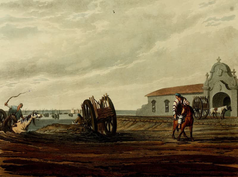 Picturesque Buenos Ayres & Monte Video - Shipping Hides at the Custom House (1820)