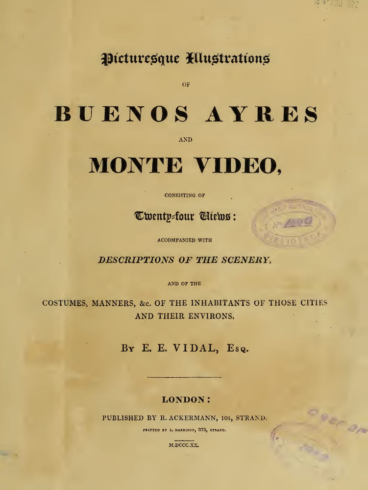 Picturesque Buenos Ayres & Monte Video - Title Page (1820)