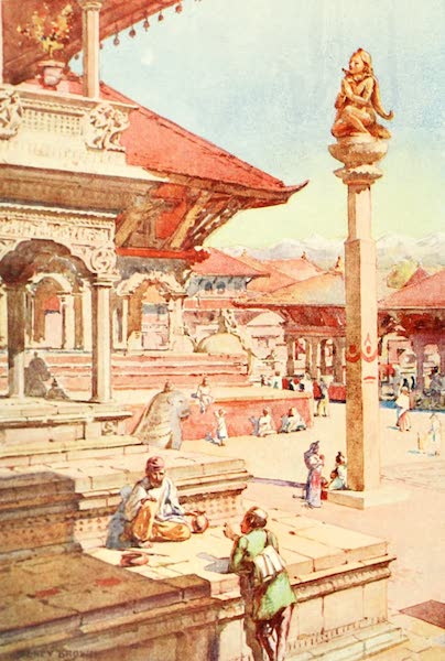 Picturesque Nepal - A Corner of the Durbar Square, Patan (1912)