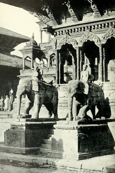 Picturesque Nepal - Carved Elephants outside a Temple dedicated to Krishna in the Durbar Square at Patan (1912)