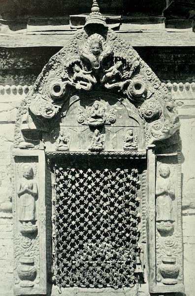 Picturesque Nepal - A Copper-gilt Shrine at the Temple of Shambunath (1912)