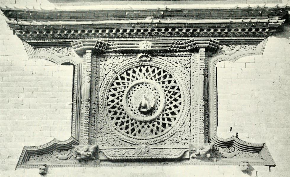Picturesque Nepal - A Window of Carved Wood at Bhatgaon (1912)