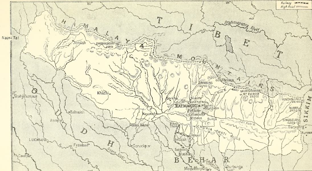 Picturesque Nepal - Sketch Map of Nepal (1912)