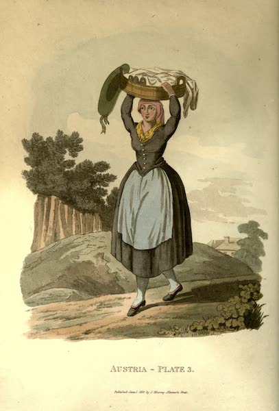 Picturesque Representations of the Austrians - A Village Girl of Upper Austria carrying Milk to Market (1814)