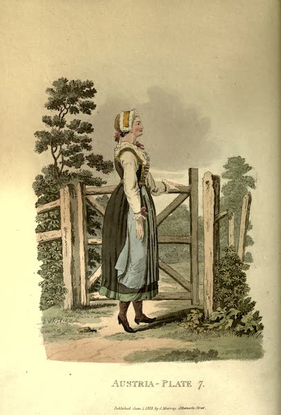 Picturesque Representations of the Austrians - A Country Girl of Upper Carniola in her Holiday Clothes (1814)