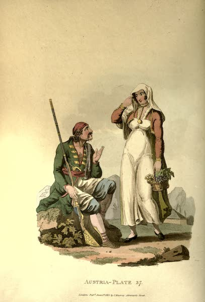 Picturesque Representations of the Austrians - A Man and Woman of Risano, in the Country of Cattaro (1814)