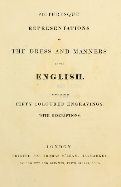 Picturesque Representations of the English - Title Page (1813)