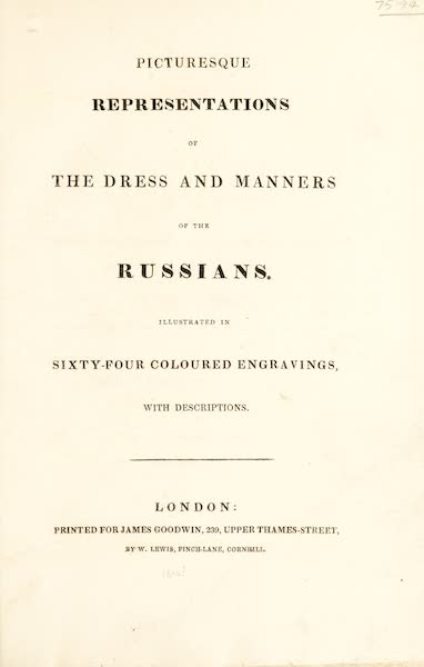 Picturesque Representations of the Russians - Title Page (1814)