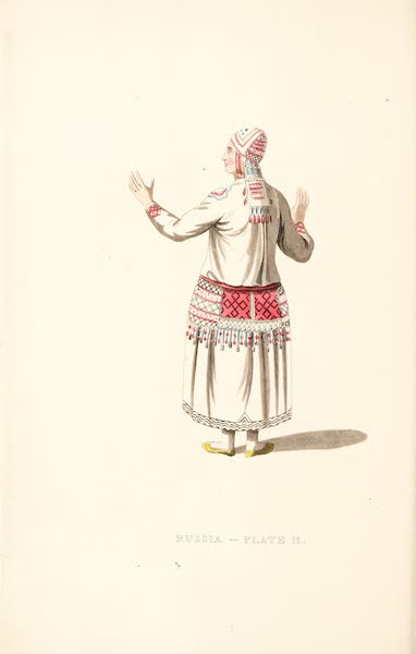 Picturesque Representations of the Russians - A Female Mordvine, shewing the back part of her dress (1814)
