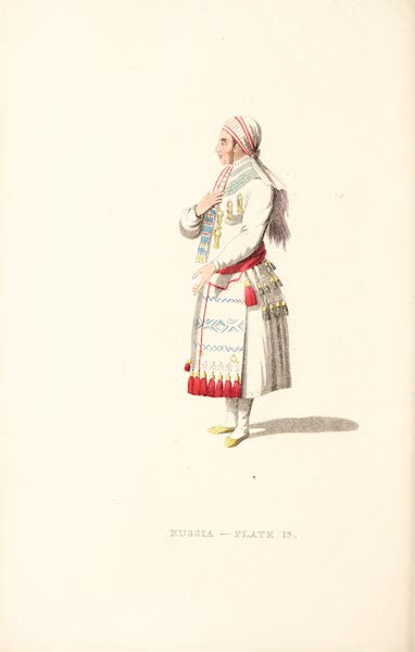 Picturesque Representations of the Russians - An Old Mordvine Woman of the Mokshan Tribe (1814)