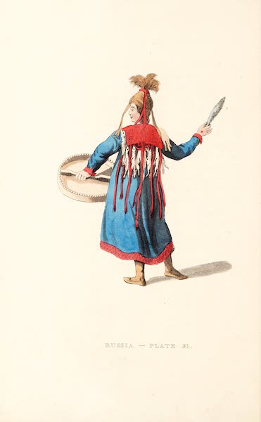 Picturesque Representations of the Russians - A Female Schaman, shewing the back part of her dress (1814)