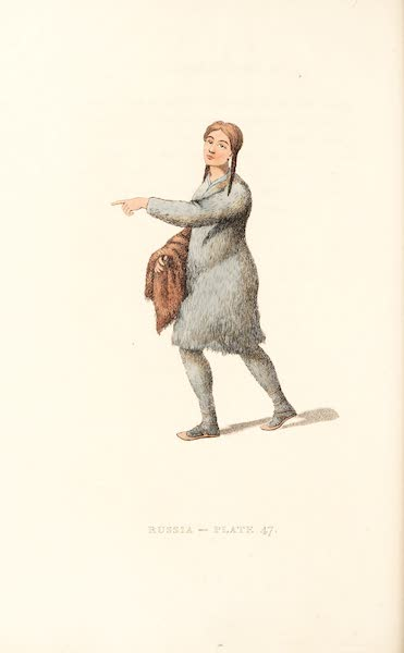 Picturesque Representations of the Russians - A Woman of Tschutski, preparing skins (1814)