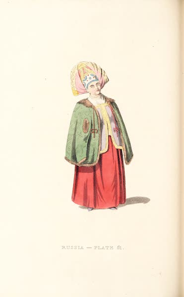 Picturesque Representations of the Russians - A Merchant's Wife of Kalouga, in her Winter dress (1814)