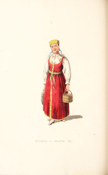 Picturesque Representations of the Russians - An Unmarried Female of Waldai (1814)