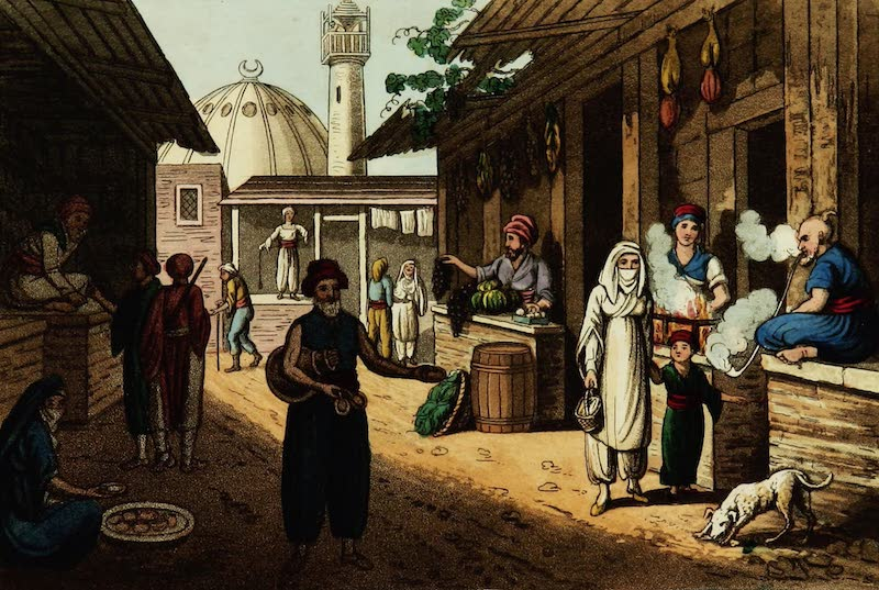 Picturesque Scenery in the Holy Land and Syria - A Market in Acre (1823)