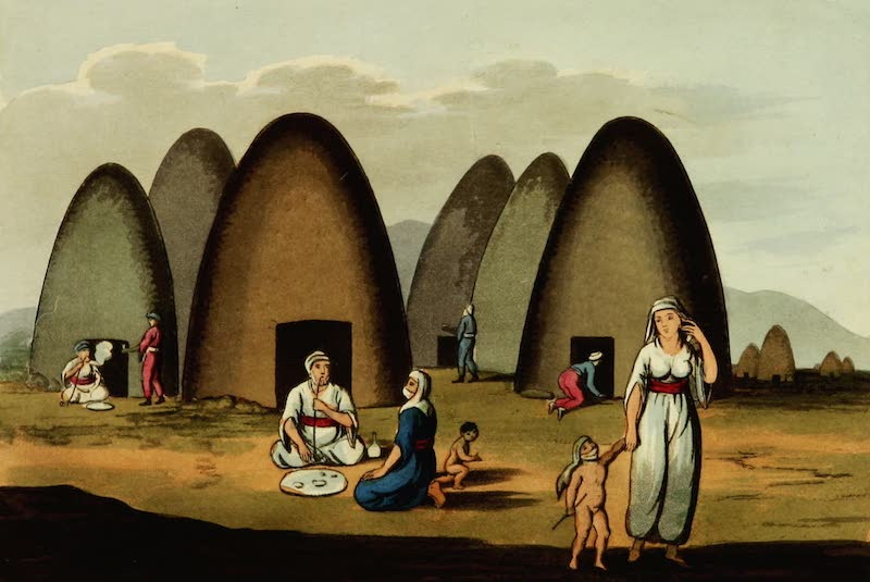 Picturesque Scenery in the Holy Land and Syria - Arab Huts at Zeta (1823)
