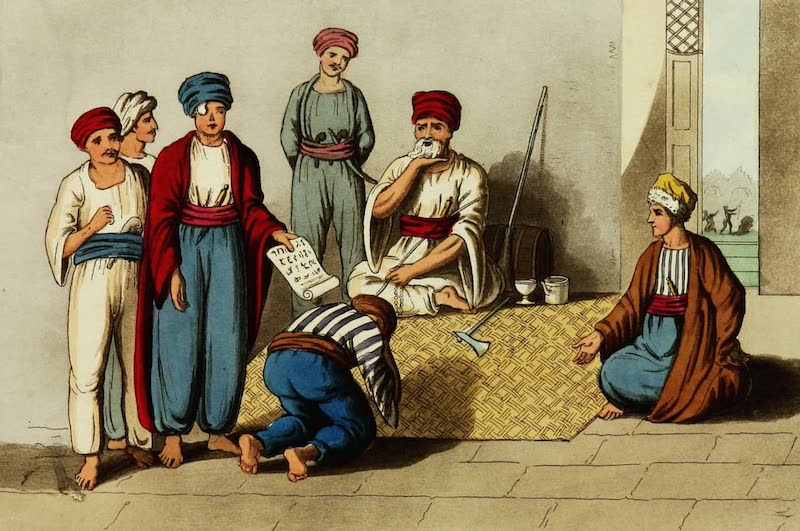 Picturesque Scenery in the Holy Land and Syria - Jezzar Pacha Condemning a Criminal (1823)