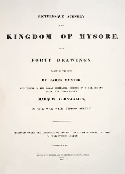 Picturesque Scenery in the Kingdom of Mysore - Title Page (1805)