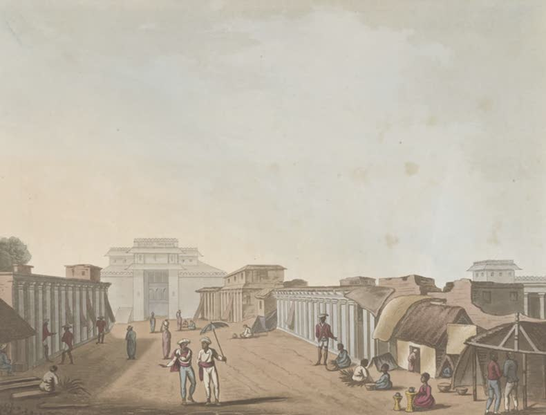 Picturesque Scenery in the Kingdom of Mysore - A Street Leading to the Palace of Bangalore (1805)