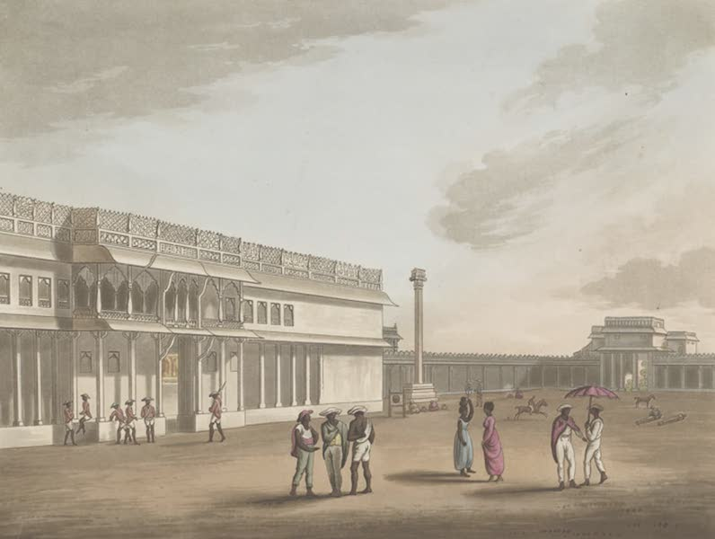 Picturesque Scenery in the Kingdom of Mysore - The Square and Entrance into Tippoo's Palace, Bangalore (1805)