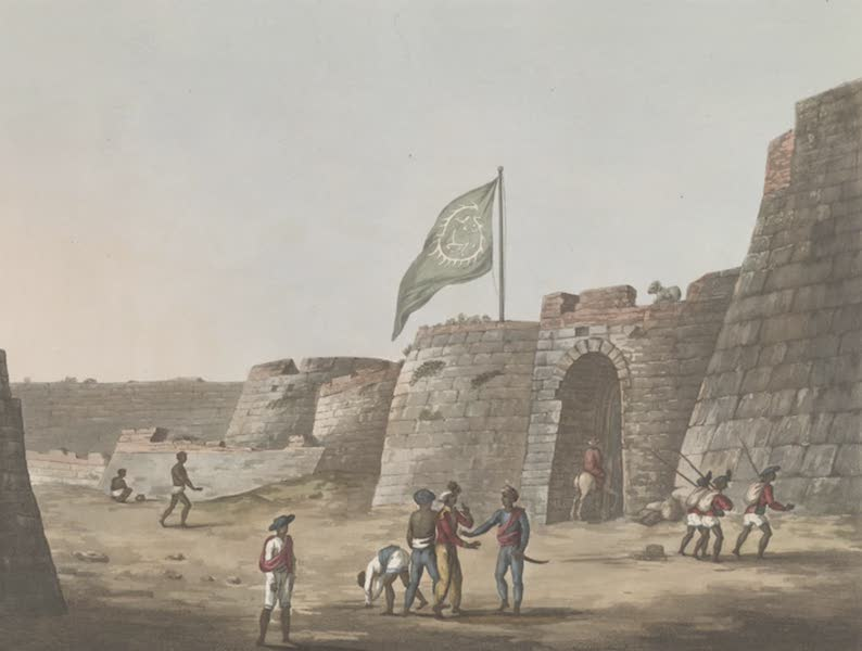 Picturesque Scenery in the Kingdom of Mysore - The North Entrance into the Fort of Bangalore [with Tipu's Flag Flying] (1805)