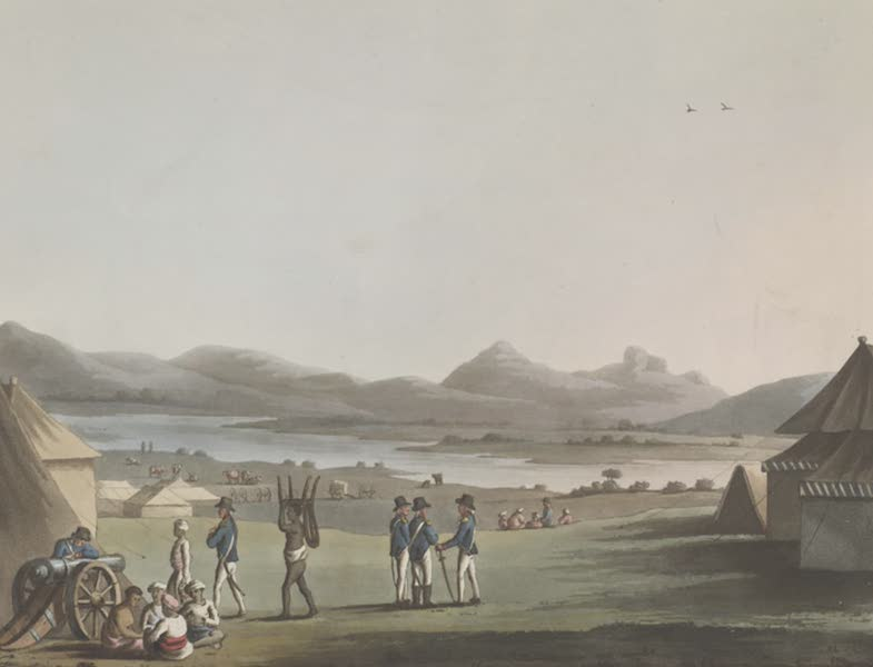Picturesque Scenery in the Kingdom of Mysore - The Royal Artillery Encampment, Arcot (1805)