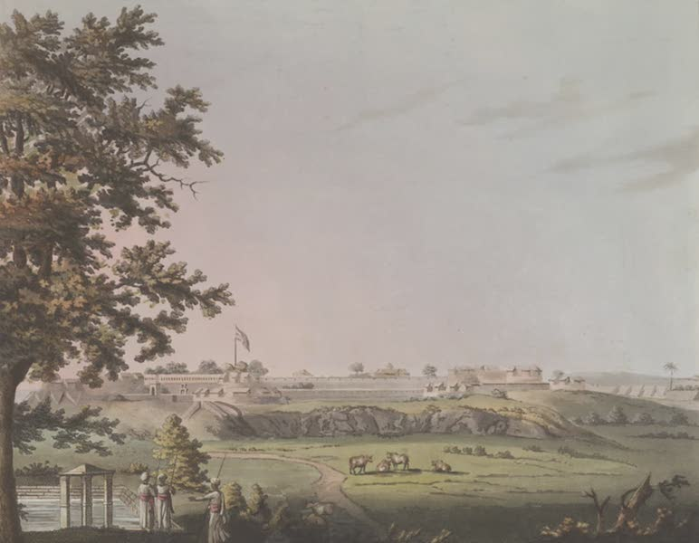 Picturesque Scenery in the Kingdom of Mysore - South East Angle of Osar [with Union Flag] (1805)