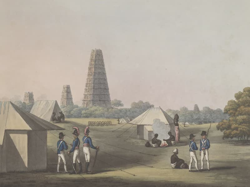 Picturesque Scenery in the Kingdom of Mysore - A View from the Royal Artillery Encampment, Conjeveram (1805)