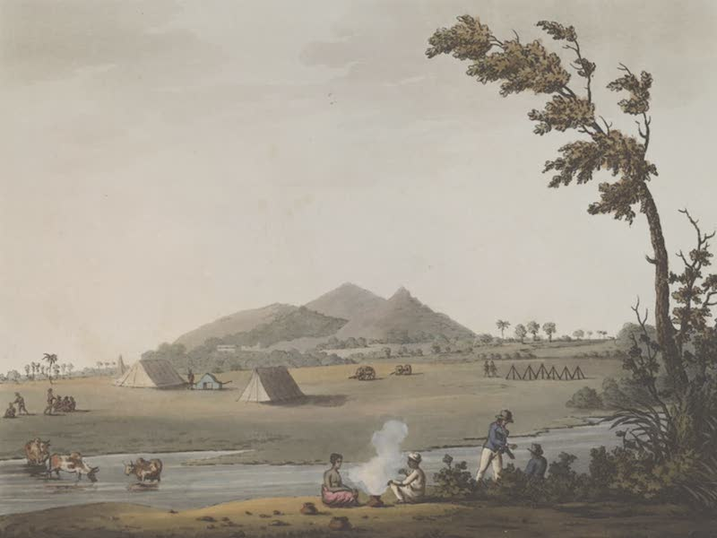 Picturesque Scenery in the Kingdom of Mysore - A View from the Royal Artillery Encampment, Conditore (1805)